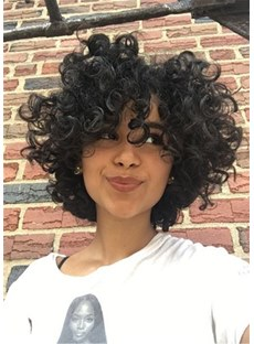 Bob Hairstyle Short Kinky Curly Synthetic Hair Capless African American Women Wigs 8 Inches