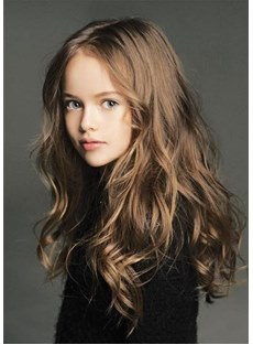 Kids Loose Wave Human Hair Capless Wig 18 Inches