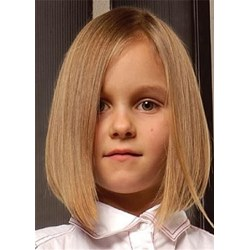 Middle Parted Medium Bob Human Hair Straight Wig For Kid