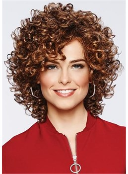 Pixie Kinky Curly Short Synthetic Hair For Round Face African American Capless Wigs 16 Inches