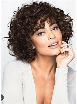 Medium Bob Kinky Curly Synthetic Hair With Bangs Capless Wig