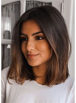 Medium Natural Straight Human Hair Women Wig