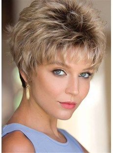 Pixie-Choppy Cut Synthetic Hair Short Straight Capless Women Wig