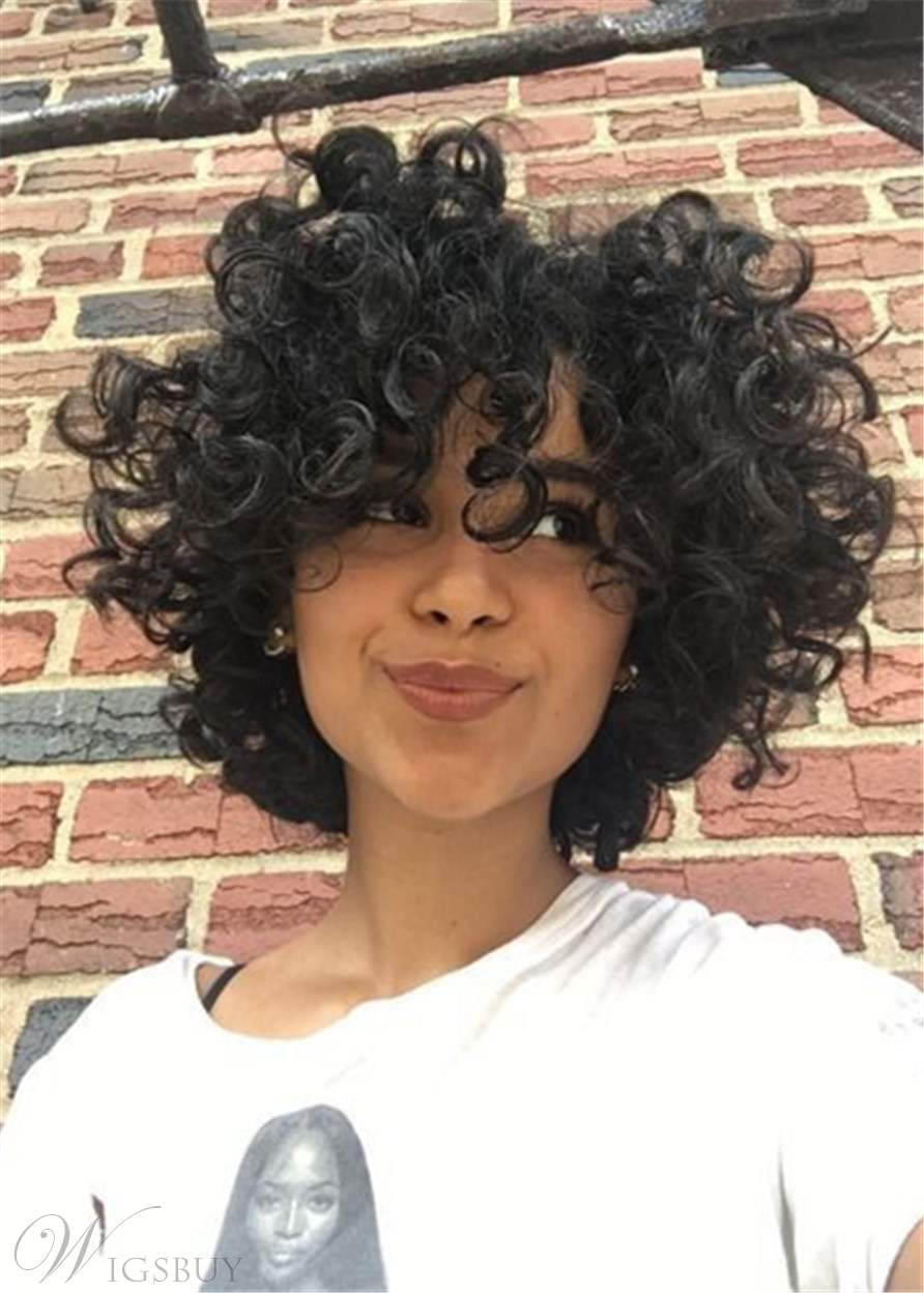 Bob Hairstyle Short Kinky Curly Synthetic Hair Capless