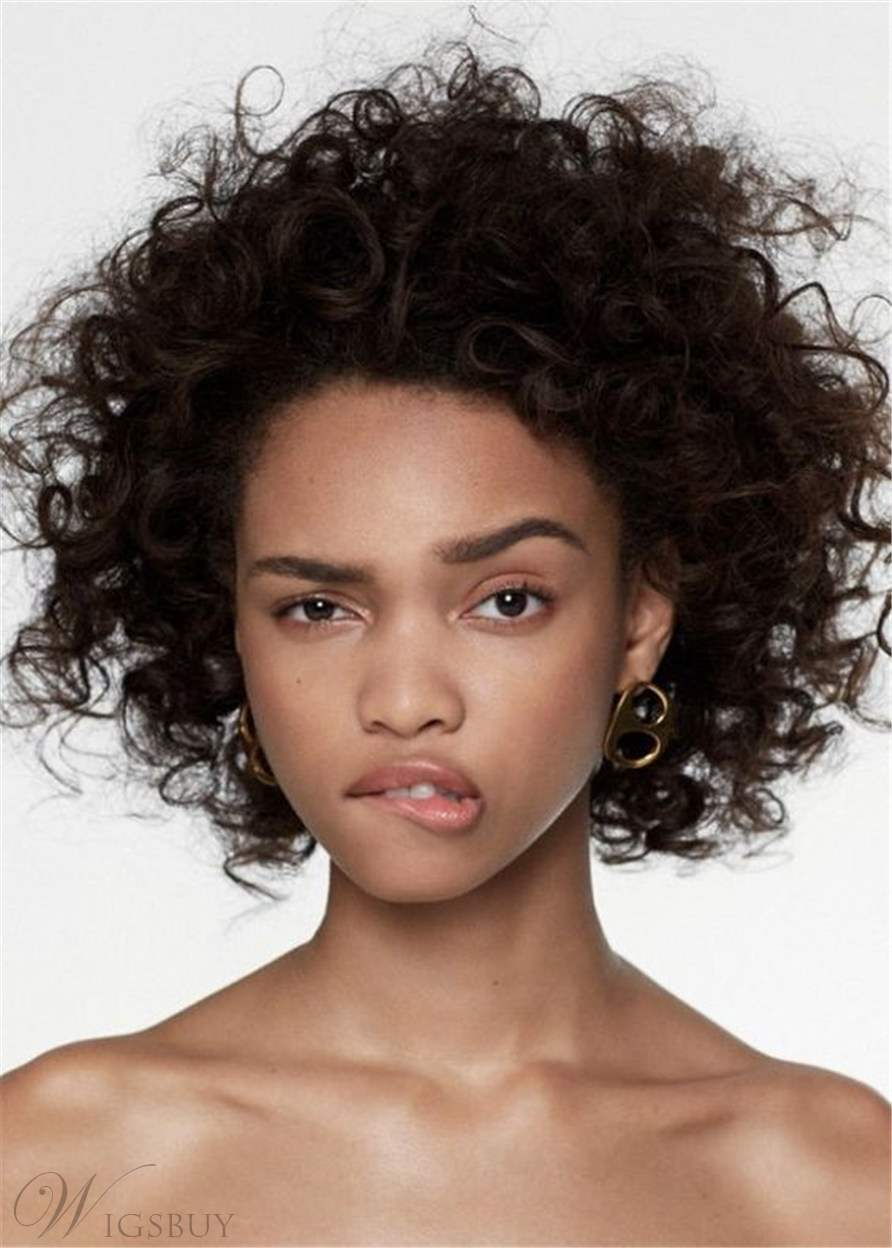 Afro Curly Medium African American Synthetic Hair Capless Women Wig 14 Inches