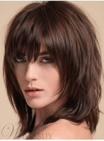 Middle Length Layered Shag Hair With Bangs Synthetic Capless Women Wigs