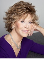 Jane Fonda Hairstyle Wavy Layered Synthetic Hair Capless Wigs 8 Inches
