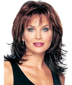 Middle Length Layered Shaggy Hair WithBangs Synthetic Capless Wigs 12 Inches