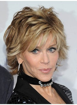 Jane Fonda Short Straight Layered Synthetic Hair Capless Wig 8 Inches