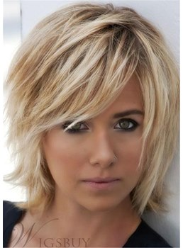 Soft Layered Straight Synthetic Capless Wigs 12 Inches