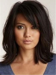 Lob Medium Loose Messy Wavy Synthetic Hair With Bangs Capless Wigs 14 Inches