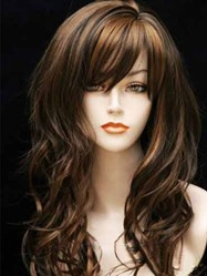 Long Curly With Full Bang Synthetic Capless Women Wigs 22 Inches