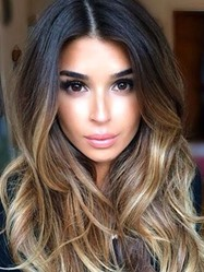 Long Wavy Mixed Color Lace Front Wig Synthetic Hair 24 Inches