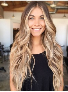Middle Parting Long Loose Wave Synthetic Hair Lace Front Wigs 26 Inches