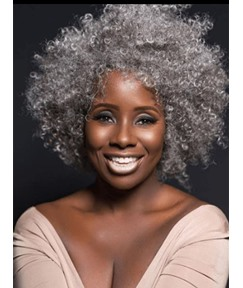 Kinky Curly Salt and Pepper Hair Synthetic Wigs For Old Women