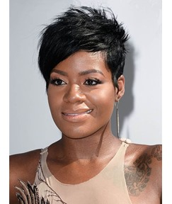 Short Layered Side Part Bangs Pixie Synthetic Hair Wigs 6 Inches