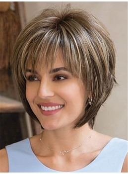Layered Mixed Color Straight Synthetic Hair With Bangs Women Wigs