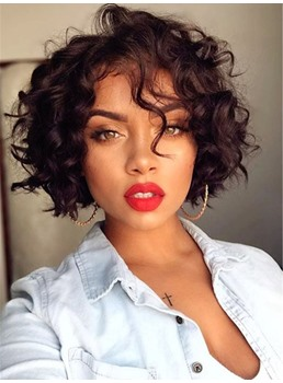 One Side Part Short Messy Wavy Synthetic Hair Capless Wigs 12 Inches