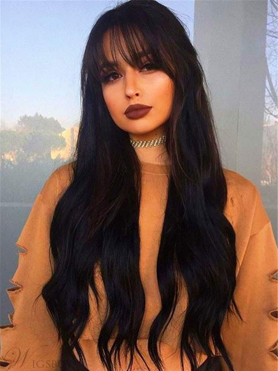 Long Smooth Carefree Natural Synthetic Hair Women Wig 26 Inches