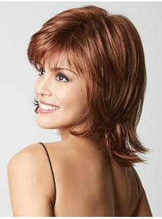 Layered Hairstyle with Full Fringe Middle Length Synthetic Capless Women Wigs 14 Inches