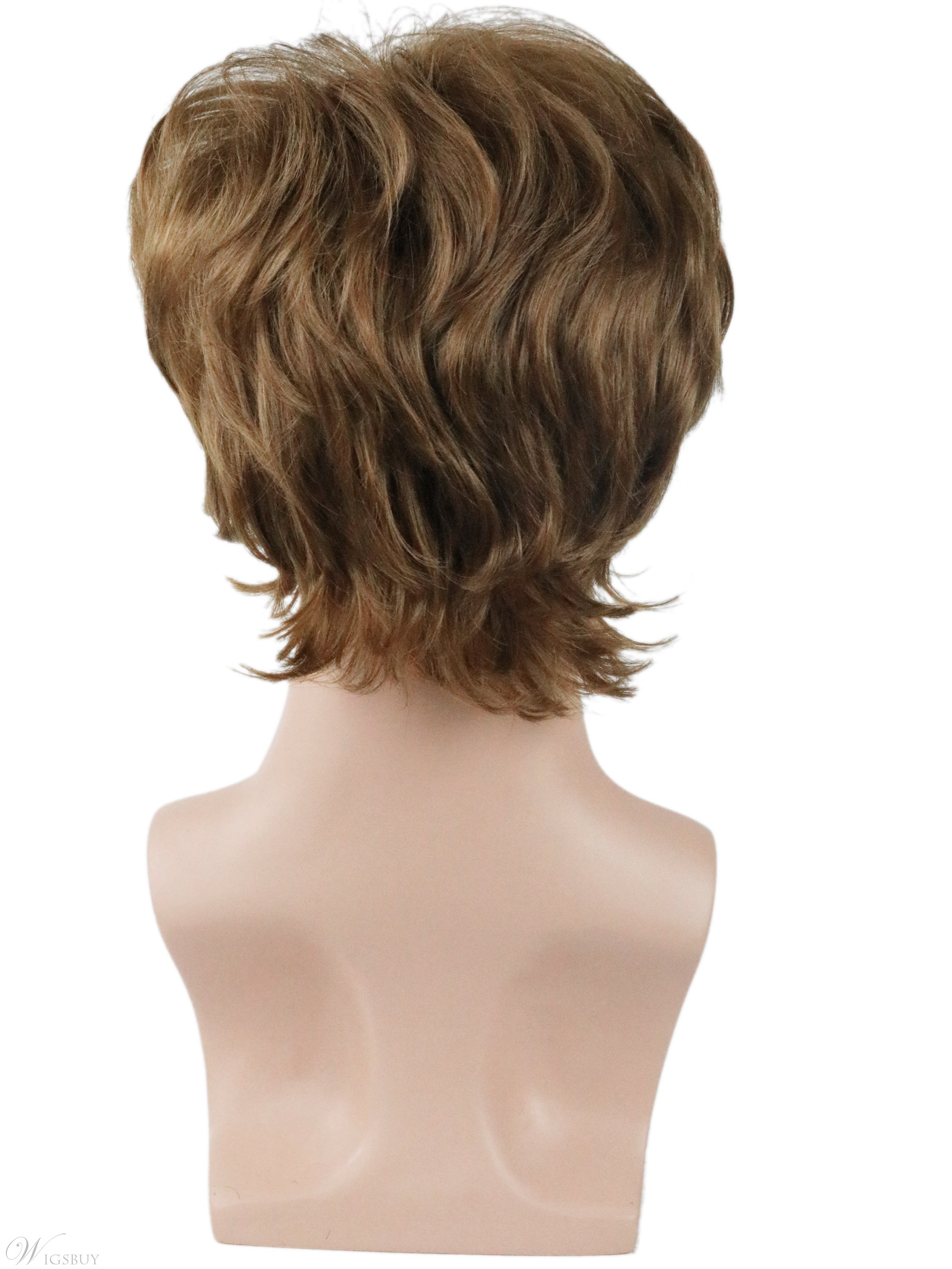 Men's Short Synthetic Wigs Natural Straight Hair Full Capless Wig 10inch