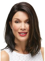 Medium Bob One Side Parted Natural Straight With Bangs Synthetic Wig