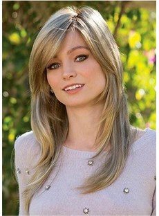 Medium Straight Layered Cut Synthetic Capless Wigs 20 Inches