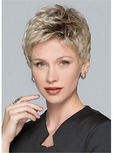 Natural Short Layered Human Hair Blend Lace Front Wigs For Women 6 Inches