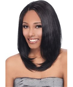 Medium Bob Natural Straight Human Hair Wig For African American Women