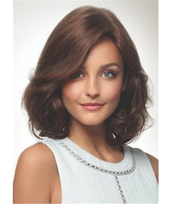 Medium Bob One Side Parted Wavy Human Hair Capless Wig