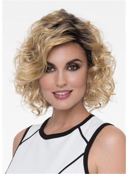 Layered Medium Kinky Curly Synthetic Hair Capless Wigs12 Inches