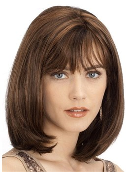Medium Bob Natural Straight Synthetic Hair With Bang Lace Front Wig