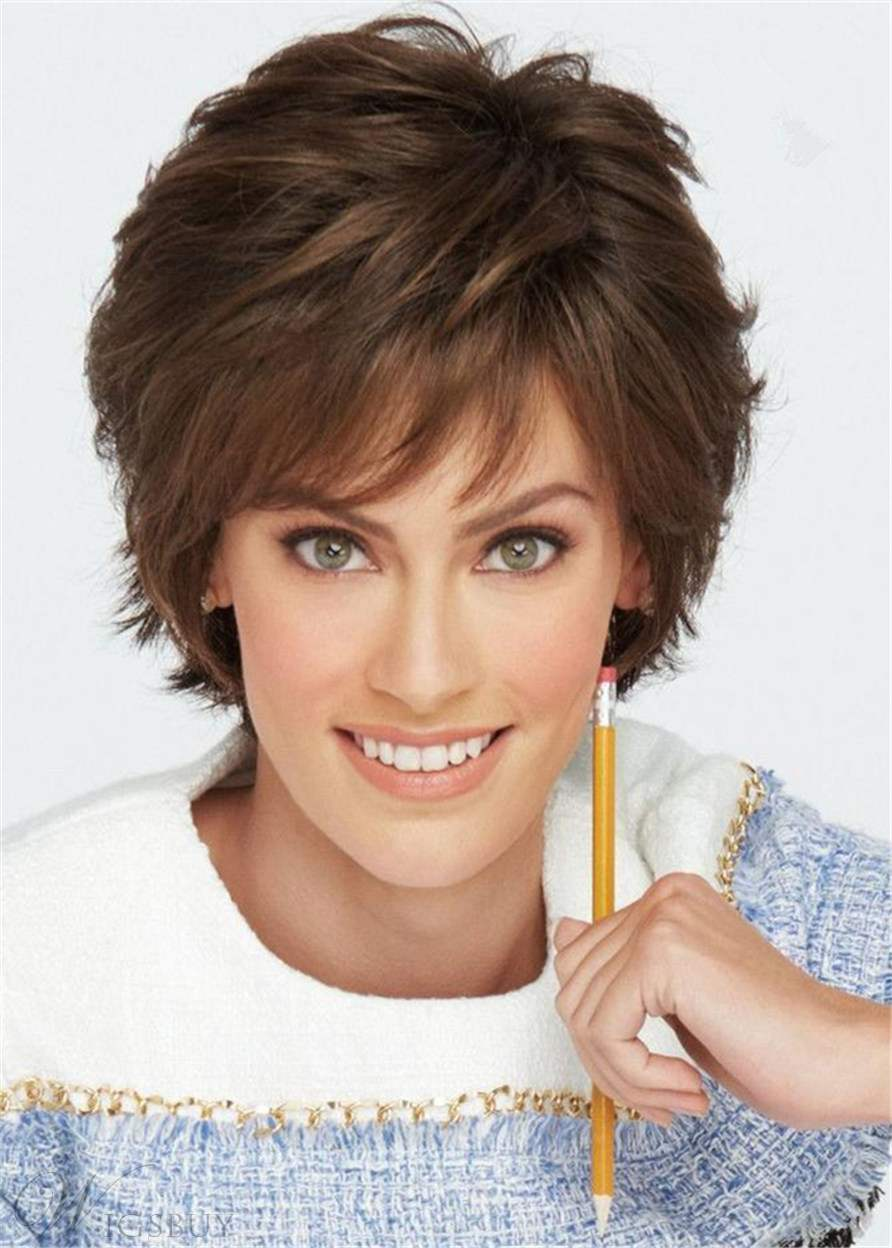 Natural Straight Short Layered Human Hair Blend Lace Front Wigs For Women 8 Inches