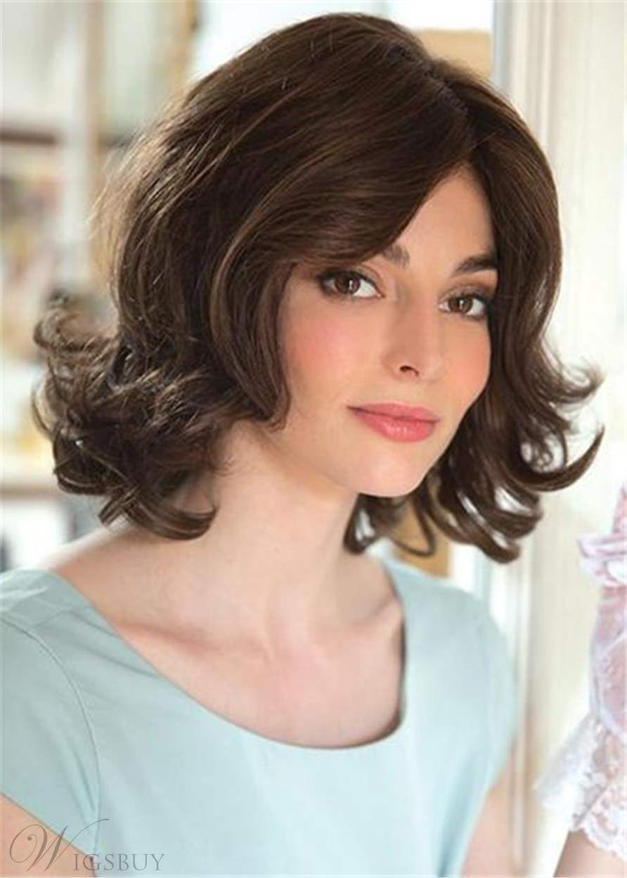 Top Quality Medium Choppy Layered Big Curly Synthetic Hair Wigs 14 Inches