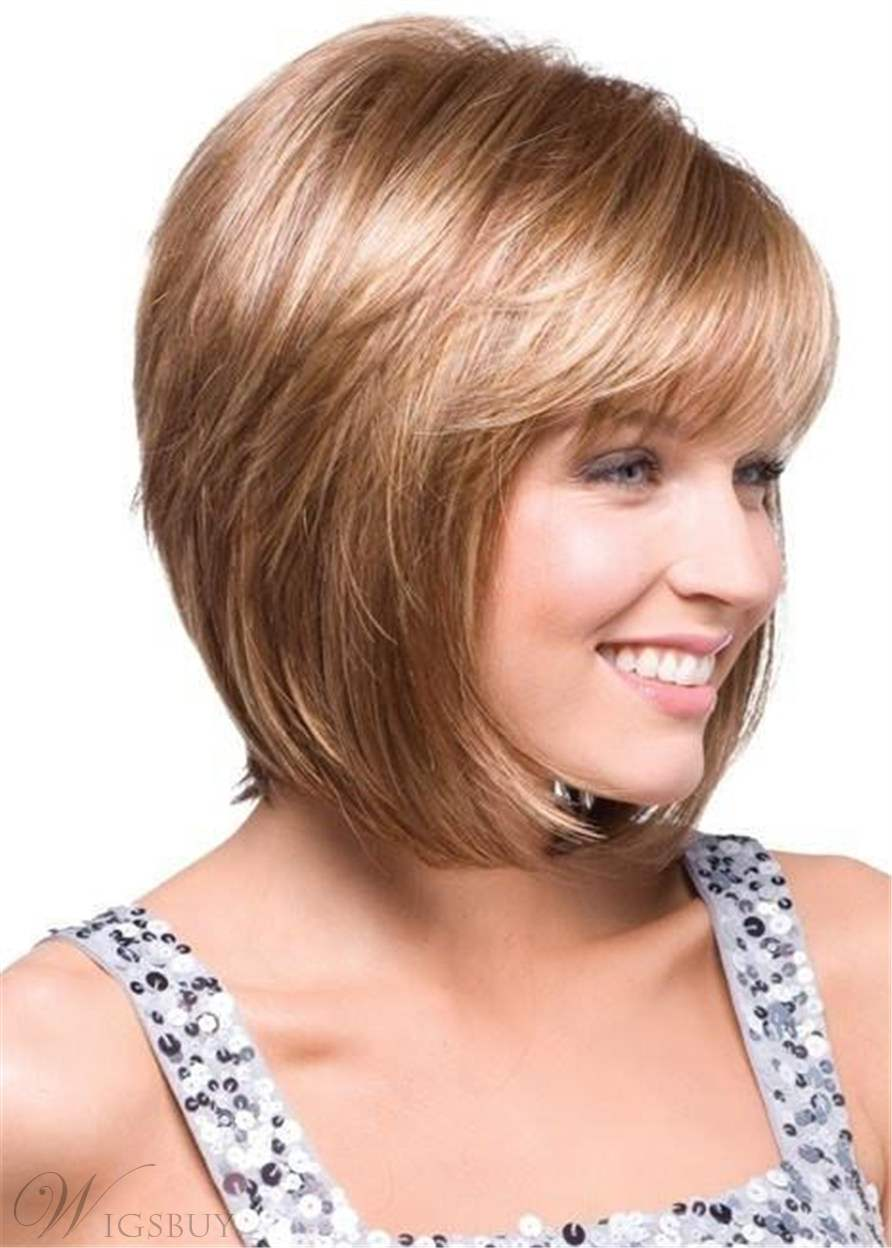 Short Straight Bob Hairstyle Side Parted Synthetic Hair Capless Wigs 10 Inches