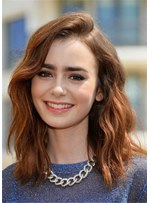 Lily Collins Hair Type Medium Wavy Human Hair Wig