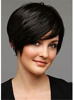 Short Hairstyle Boy Cut Synthetic Hair Straight Lace Front Wig