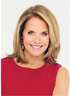 Katie Couric Hairstyle One Side Parted Medium Bob Wig