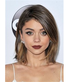 Sarah Hyland Onde Side Parted Straight Human Hair Wig 14 Inches