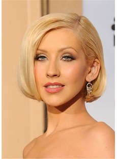 Christina Aguilera Hair Type Short Bob Side Parted Synthetic Hair Wig