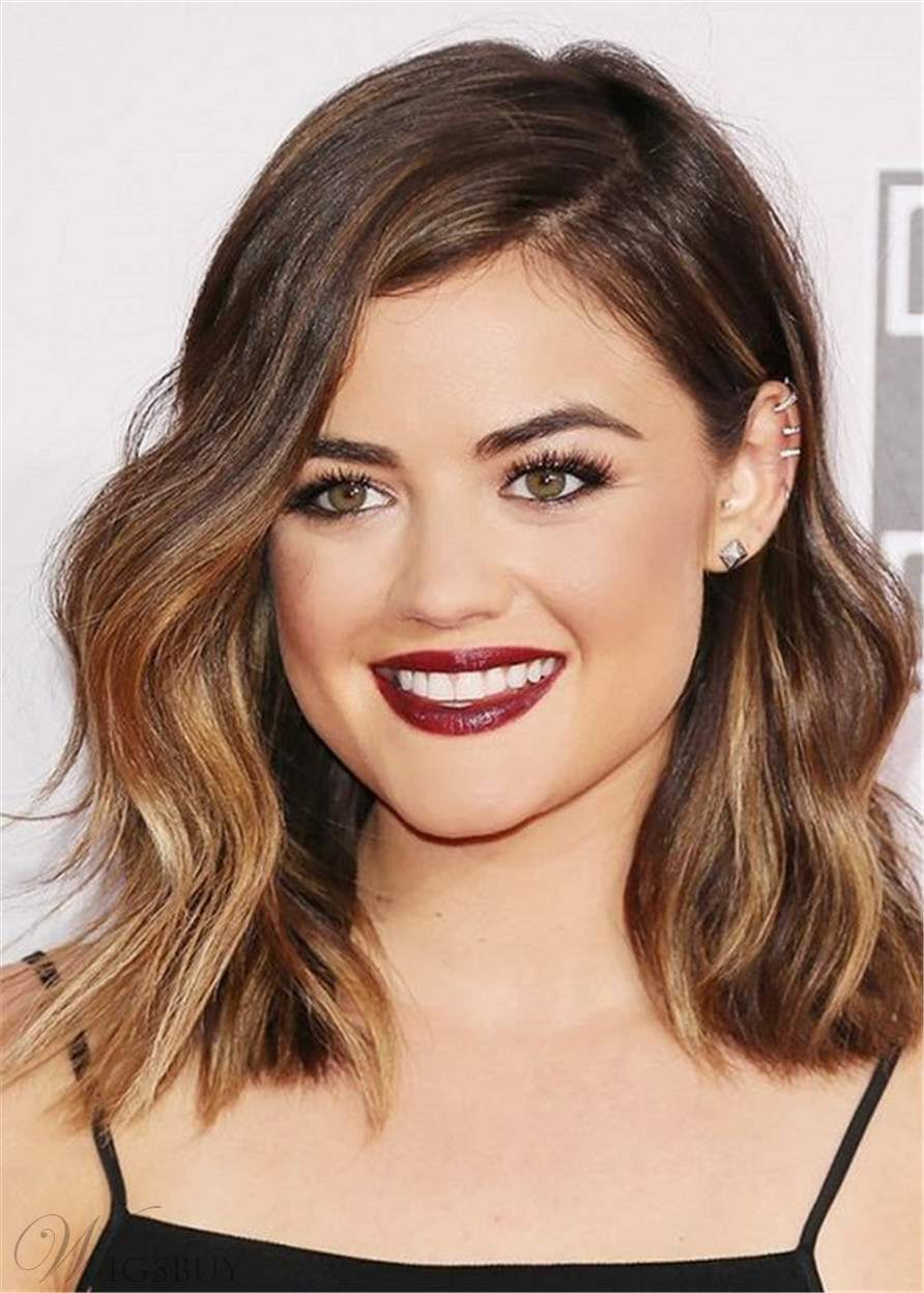 Lucy Hale One Side Parted Wavy Human Hair Women Wig