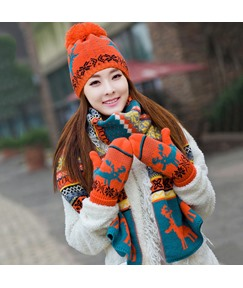 Christmas Elk Winter Warm Girl's Scarf&Hat