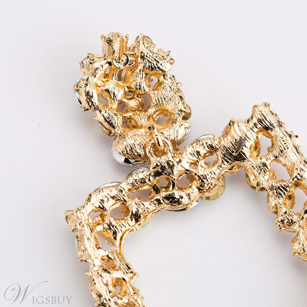 Square Diamante Hollow Out Earrings