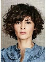 Short Bob Hairstyle Curly Synthetic Hair Women Wig 12 Inches