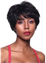 Short Natural Straight Human Hair Lace Front Wig 8 Inches