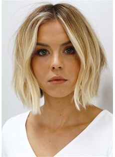 Short Bob Middle Parted Natural Straight Human Hair Wig