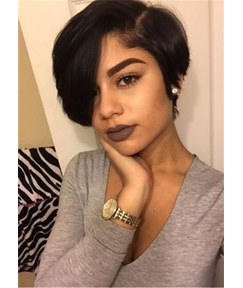 One Side Parted With BangsSynthetic Hair Lace Front Wig