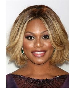 Middle Parted Short Bob Wavy Synthetic Hair Women Wig