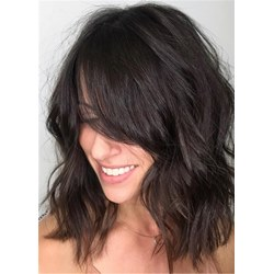 Long Bob Hairstyle Wavy Human Hair Capless Wig 16 Inches