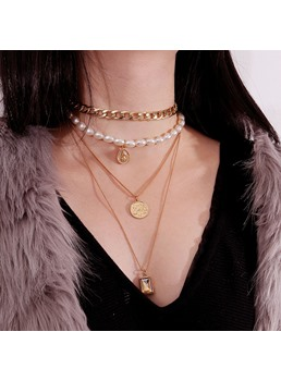 Alloy Golden Pearl Necklace
